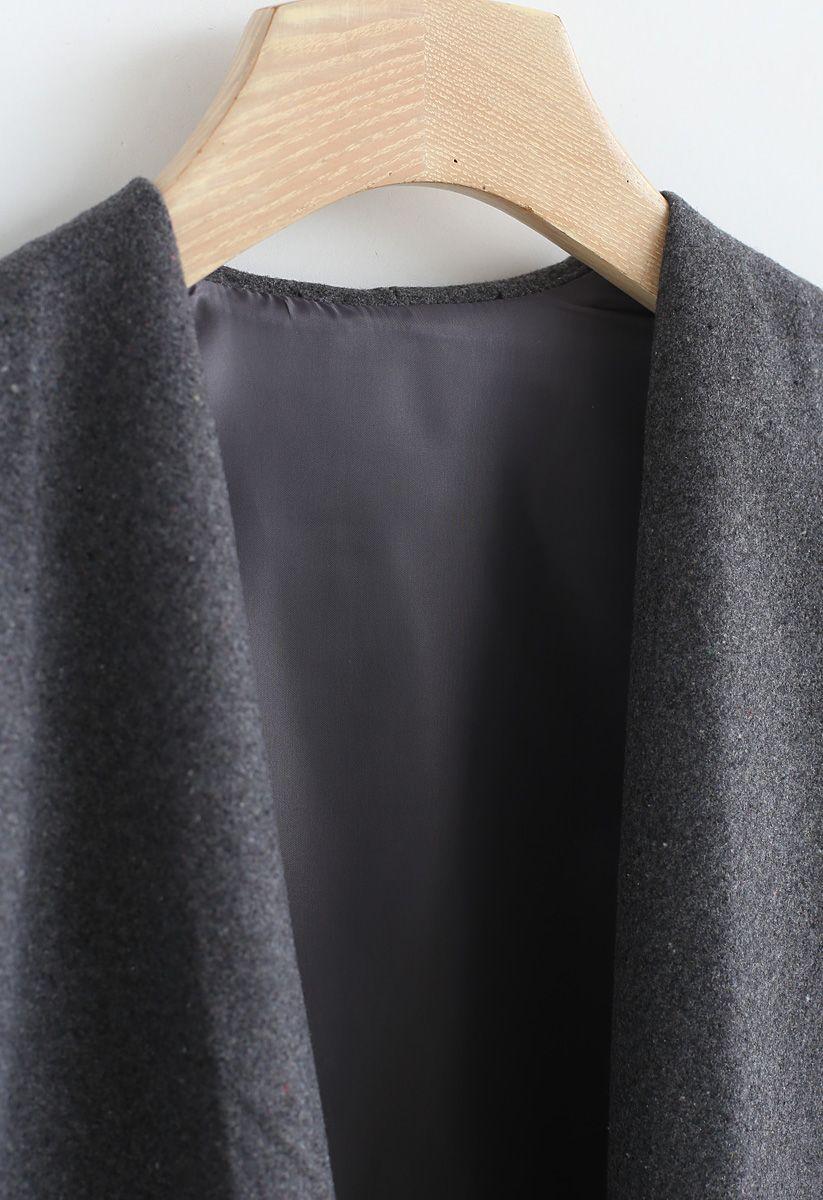 Free Myself Open Front Wool-Blend Coat in Grey