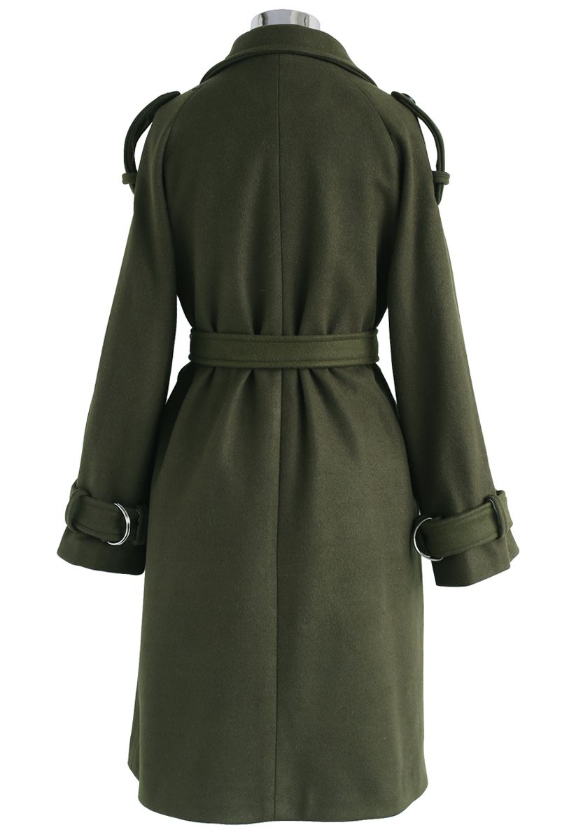 Snug Double-Breasted Wool-Blend Coat in Army Green