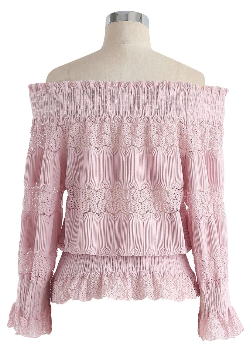 Stay Sweet Ribbed Off-Shoulder Top in Pink