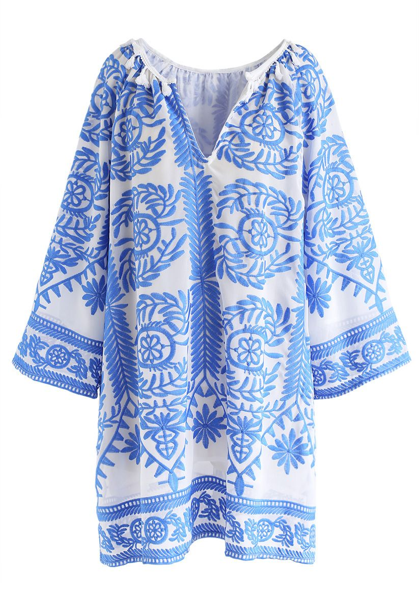 Touch The Skyline Boho Embroidered Dress in Blue