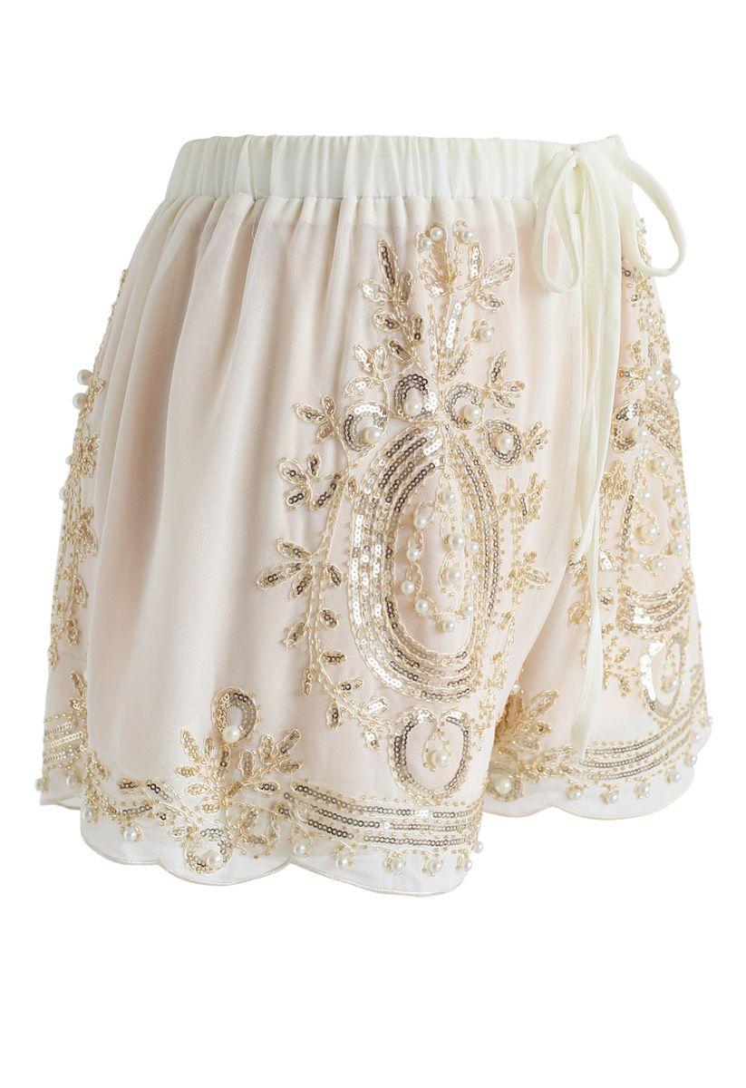 Shinning Pearls Trimming Chiffon Shorts in Cream