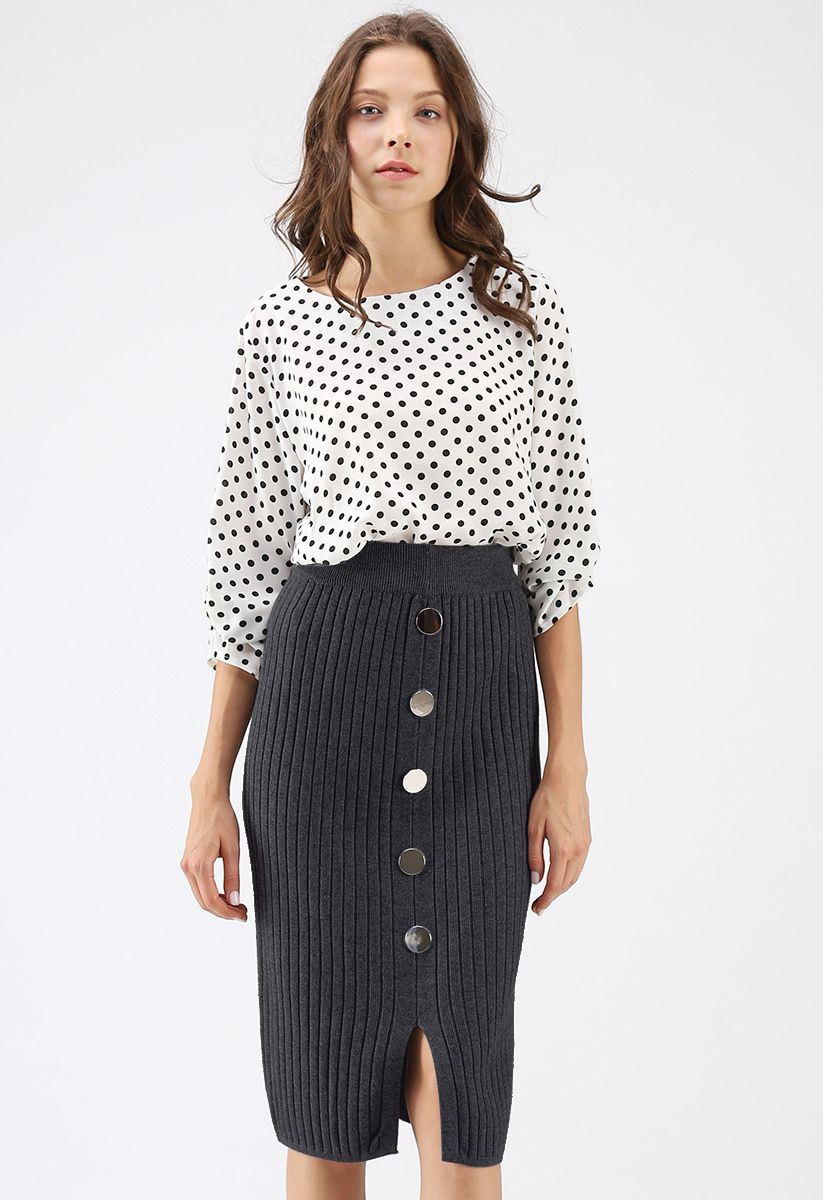 Button the Charm Ribbed Knit Pencil Skirt in Grey