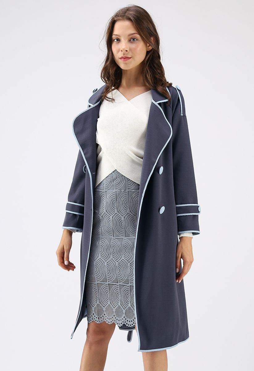 What You Expect Double-Breasted Coat in Dusty Blue