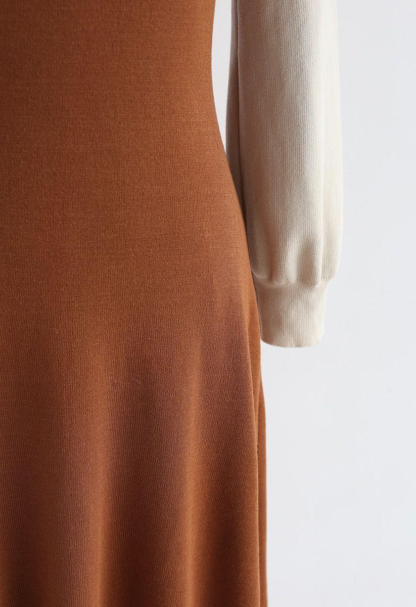 Elegant Identity Fake Two-Piece Knit Dress in Caramel
