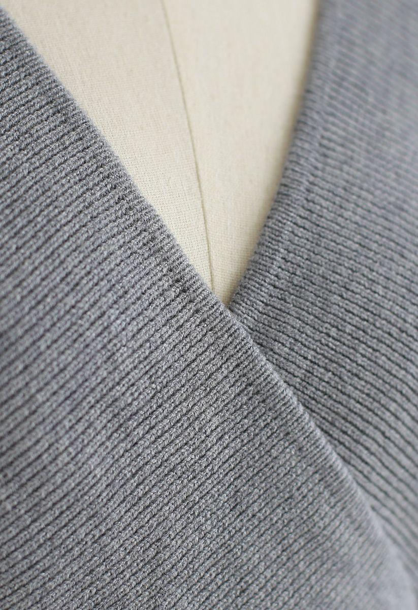Modern Allure Wrapped Knit Dress in Grey