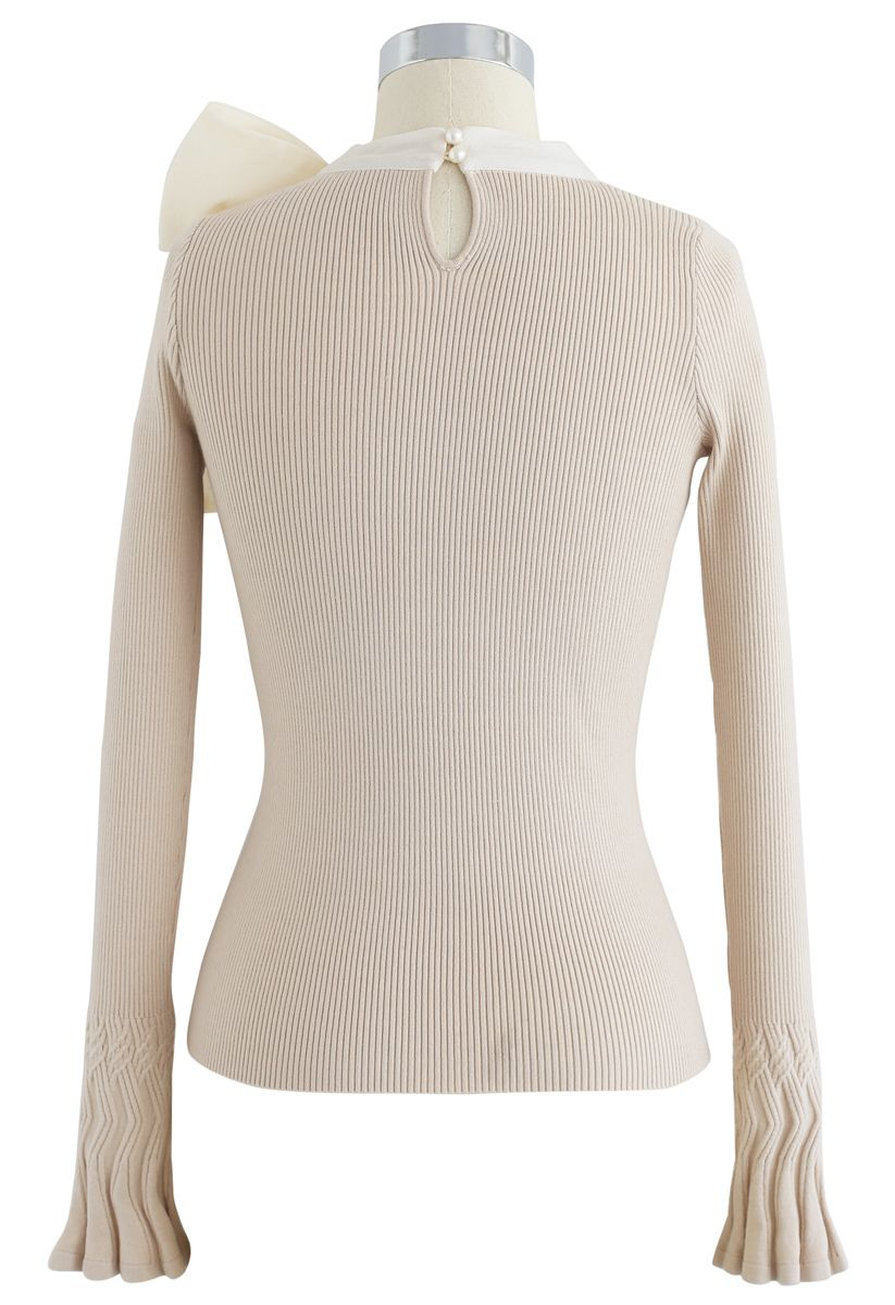 Fancy with Bowknot Knit Top in Cream