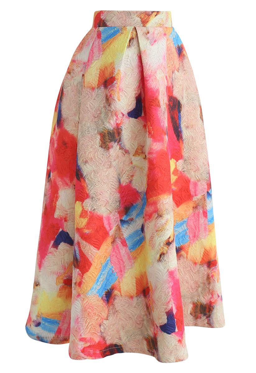 Florid Watercolor Embossed A-Line Skirt