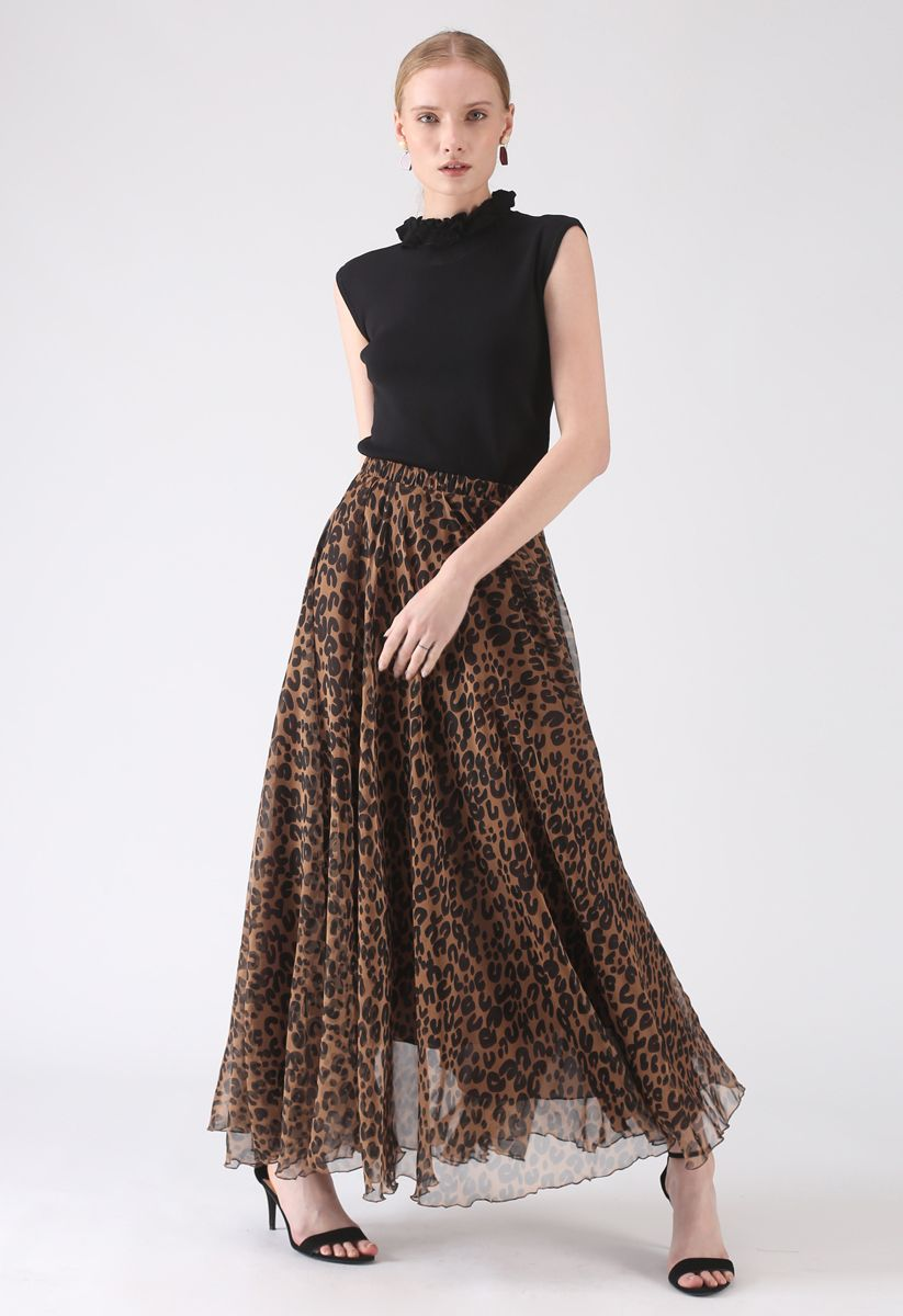 Leopard Watercolor Maxi Skirt in Brown