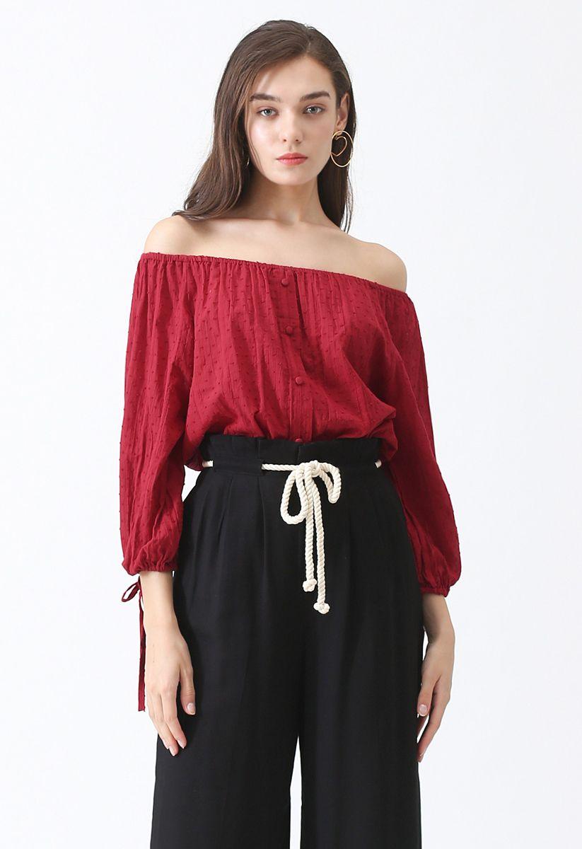 Summer Breeze Off-Shoulder Top in Red
