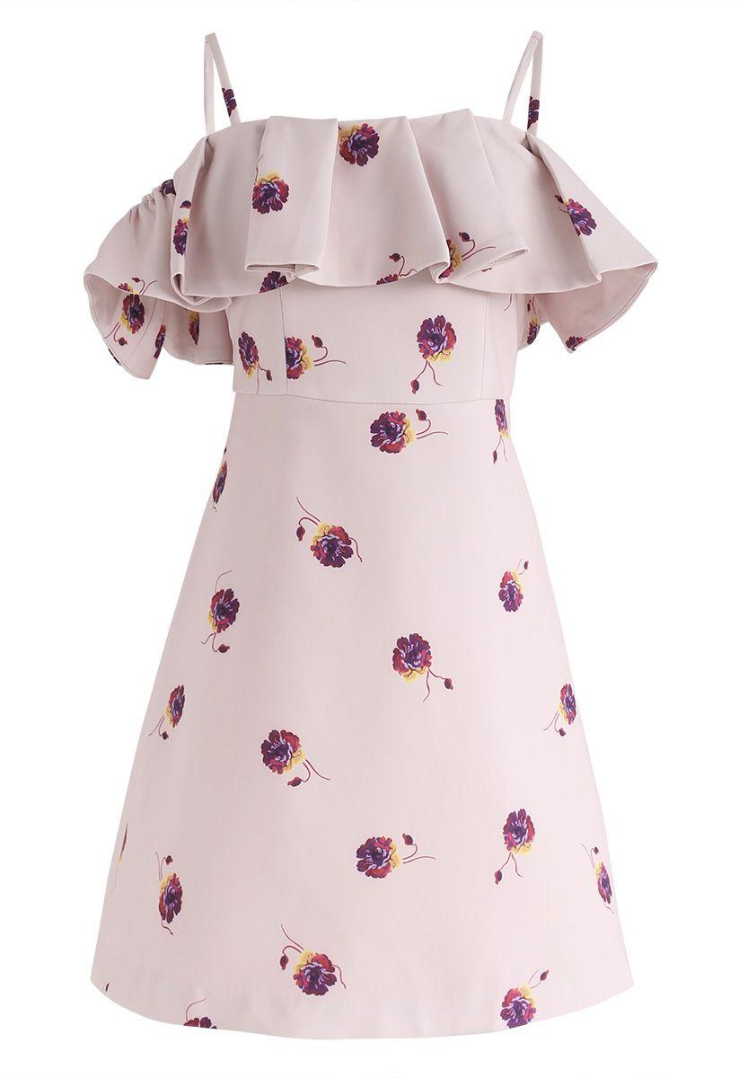 Beauty Remains Floral Print Cold-Shoulder Dress