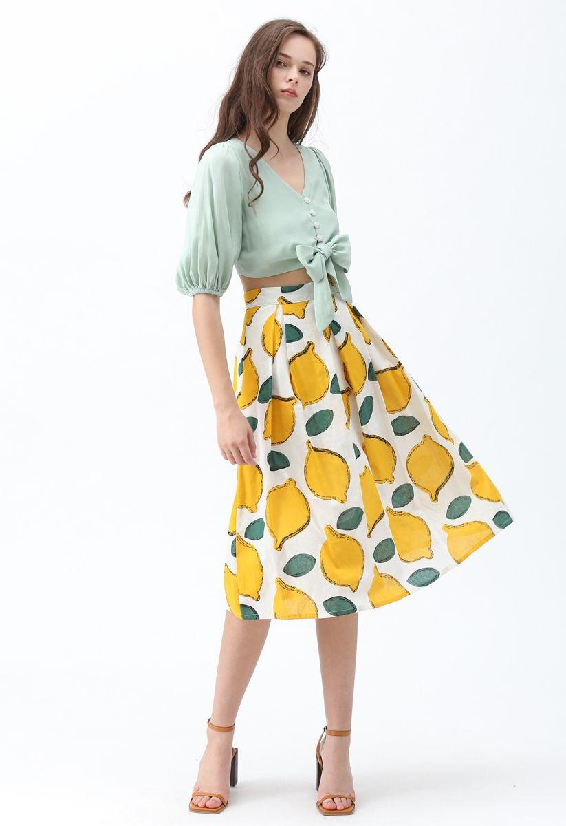 Summer Cool Lemon A-Line Midi Skirt