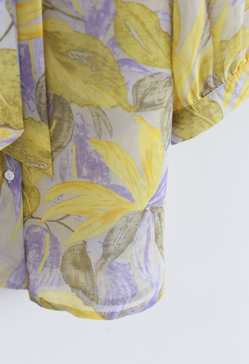 Tropical Splendor Watercolor Printed Bowknot Top