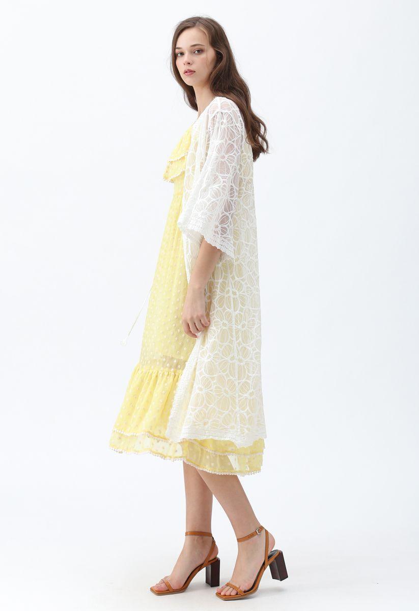 Keep Cool Embroidered Mesh Longline Kimono