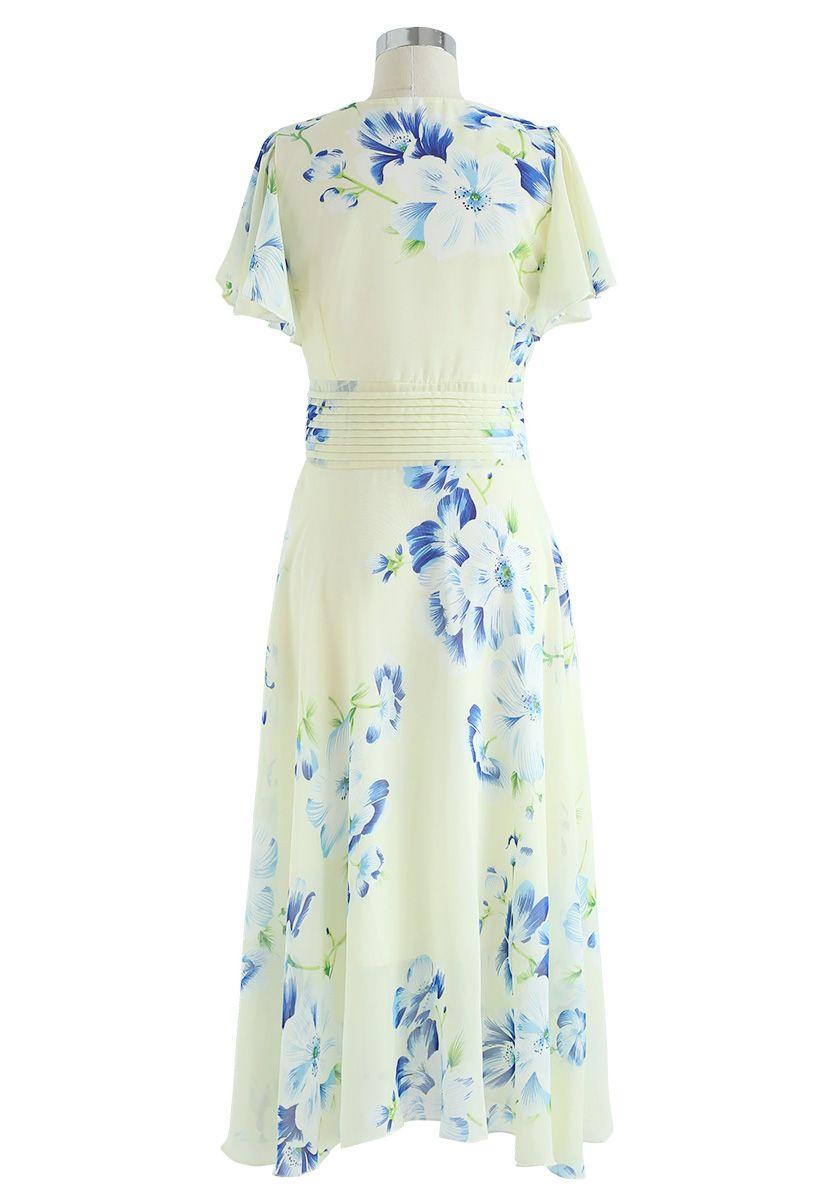 Sweet Surrender Floral Chiffon Dress in Cream