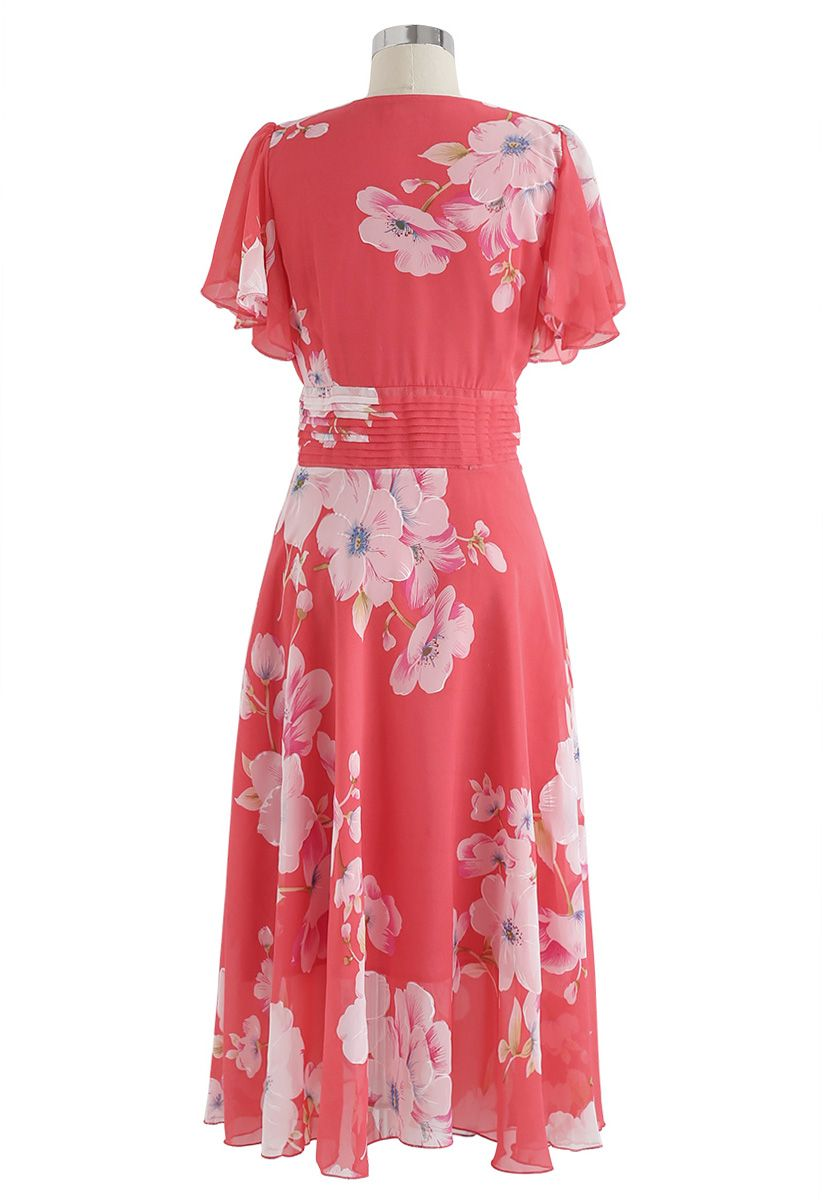 Sweet Surrender Floral Chiffon Dress in Red