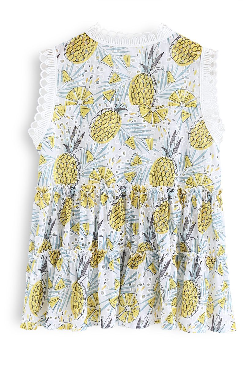 Here Comes Pineapple Sleeveless Eyelet Top