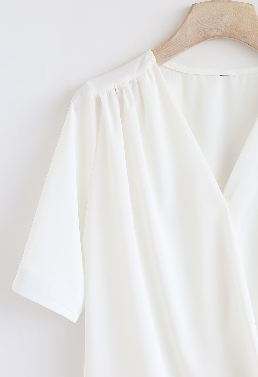 Forever Chic Wrap Top in White