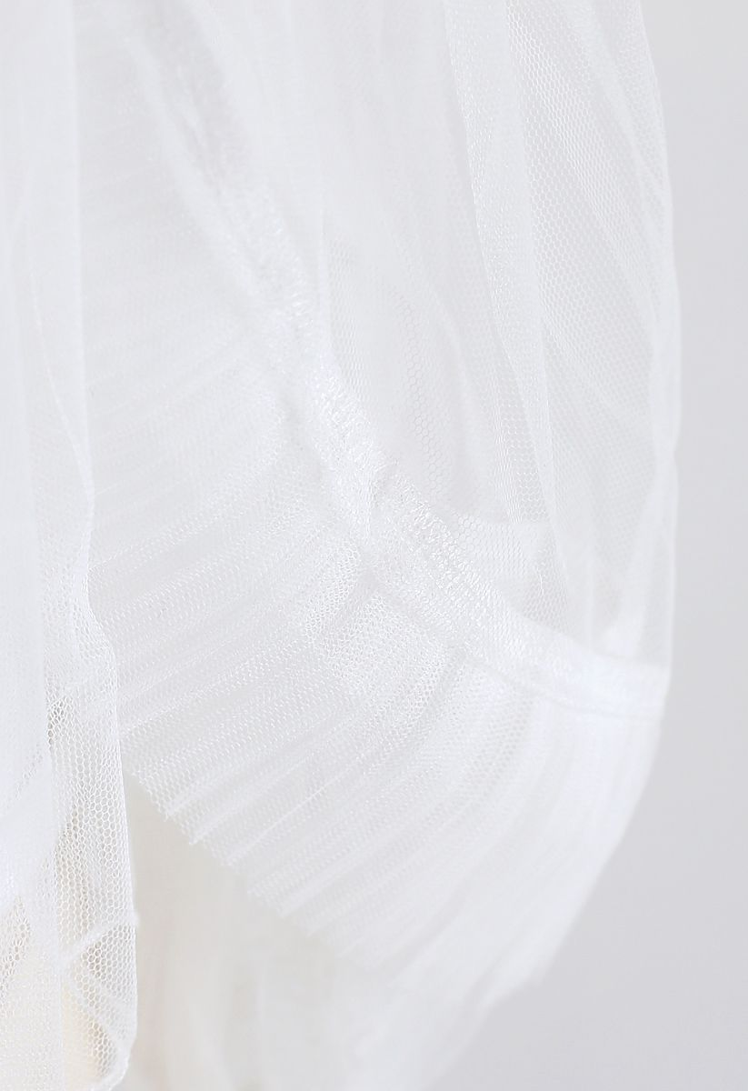 Angel Smile Cold-Shoulder Ruffle Mesh Top in White