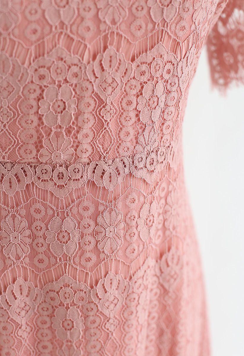 Dream Maker Lace Midi Dress in Coral