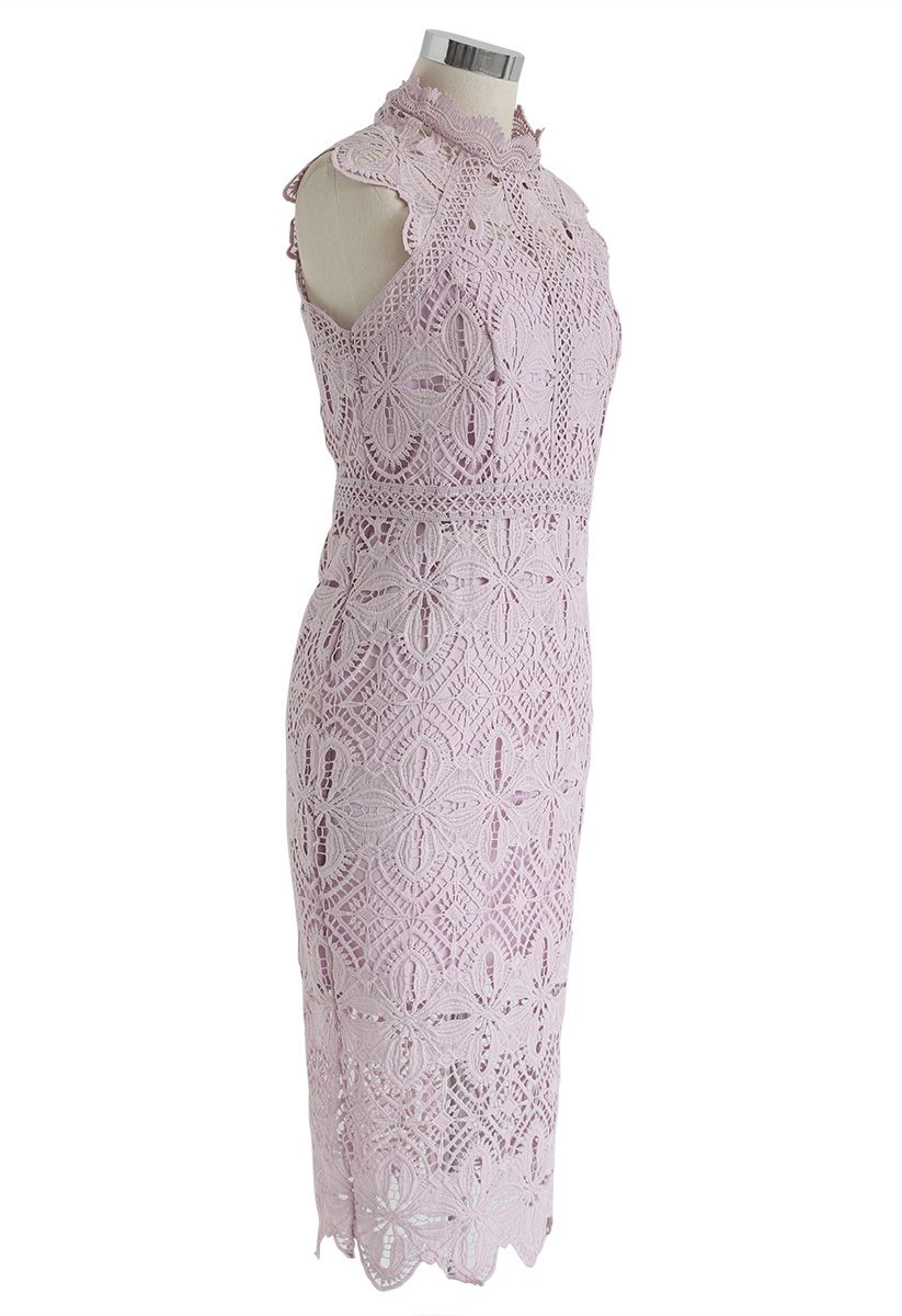 Diamond and Floral Crochet Bodycon Midi Dress in Pink