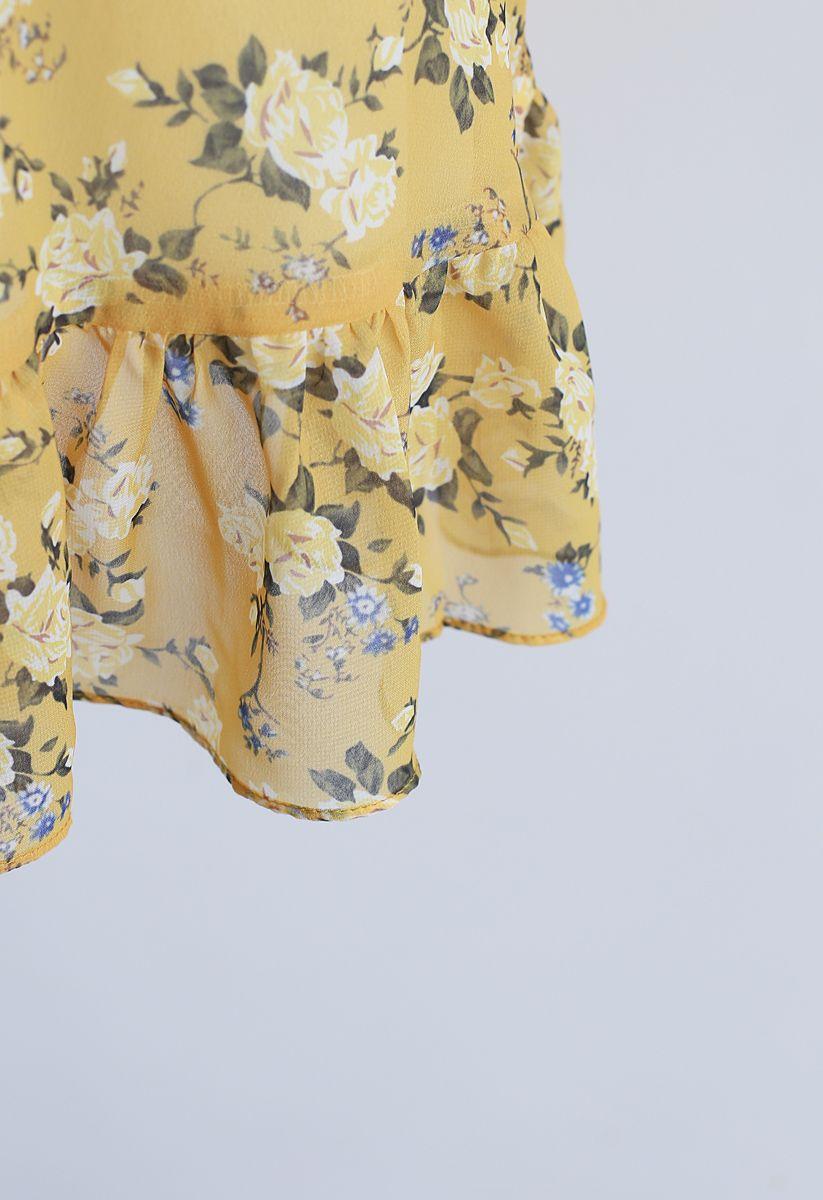 Yellow Peony Print Halter Neck Ruffle Dress