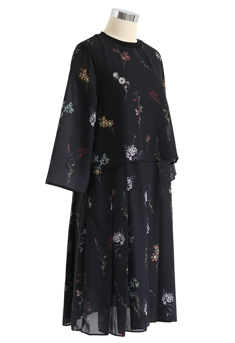 Fake Two-Piece Floral Pleated Midi Dress