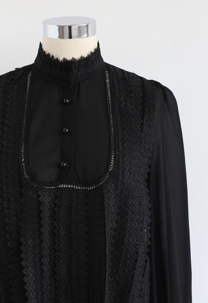Mock Neck Front Crochet Top in Black