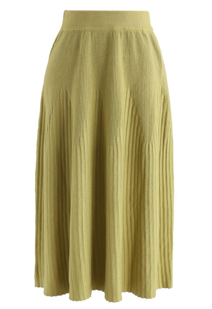 Radiant Lines Knit Midi Skirt in Moss Green