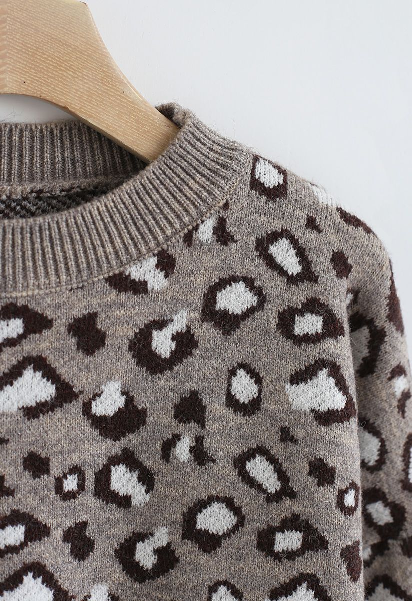 Taupe Leopard Knit Sweater