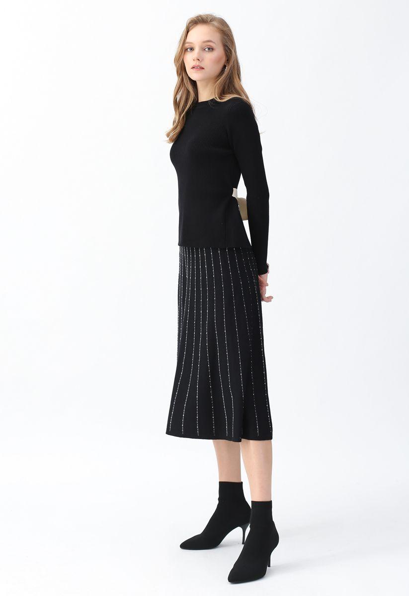 Split Back Self-Tied Bowknot Knit Top in Black