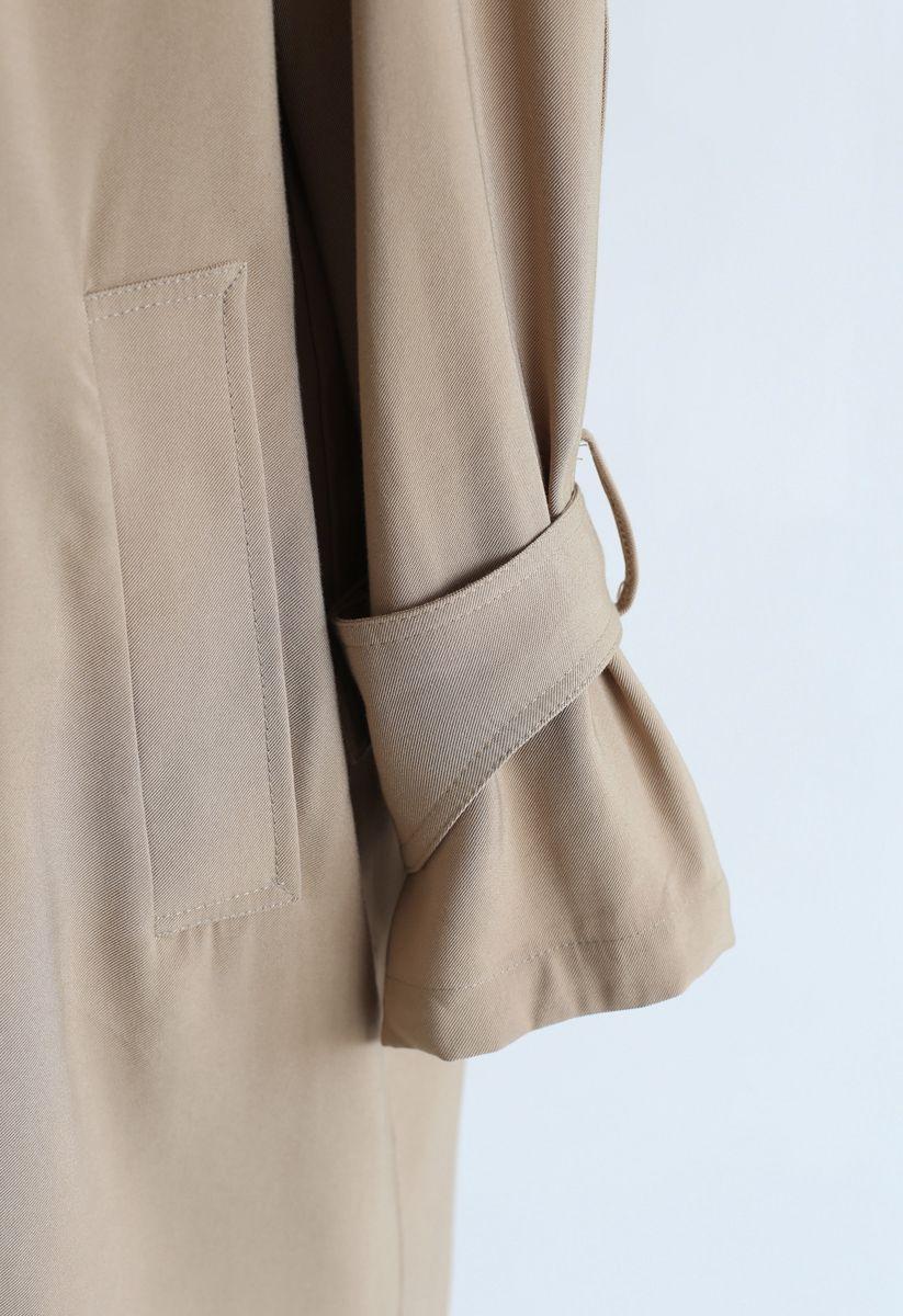 Open Front Trench Coat in Khaki