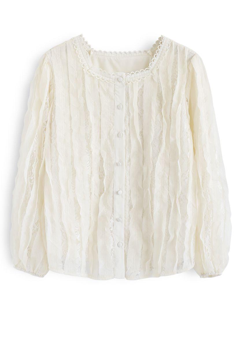 Square Neck Lace Button Top in Cream