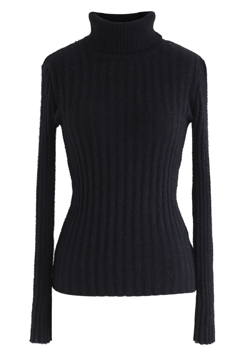 Fitted Turtleneck Fluffy Knit Sweater in Black