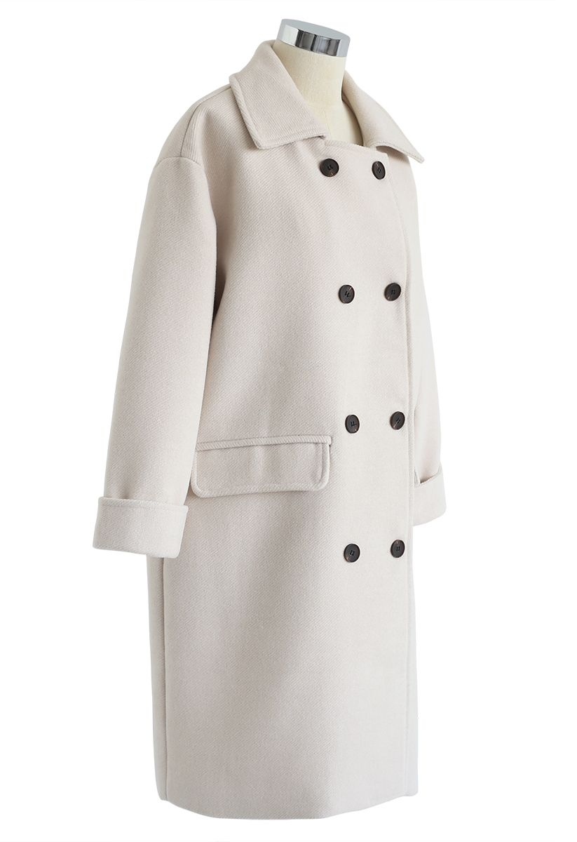 Flap Pockets Double-Breasted Wool-Blend Coat in Ivory