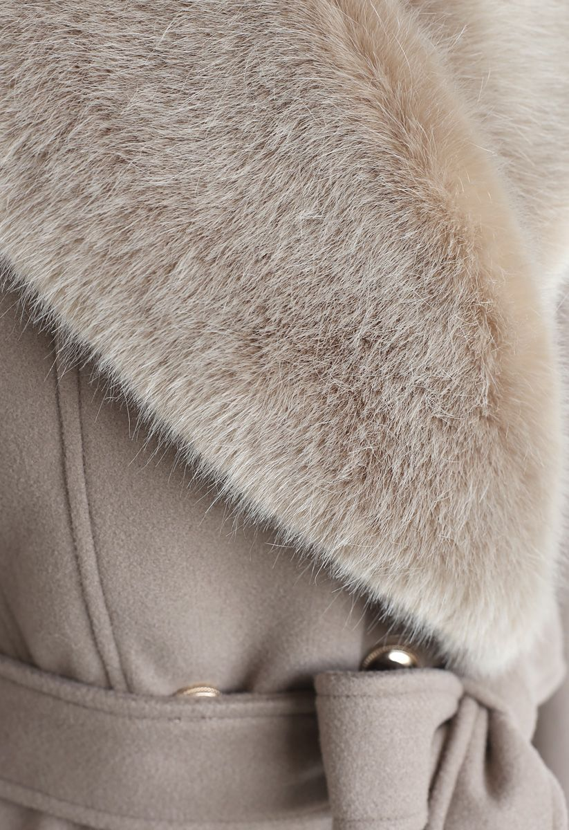 Faux Fur Collar Belted Flare Coat in Taupe