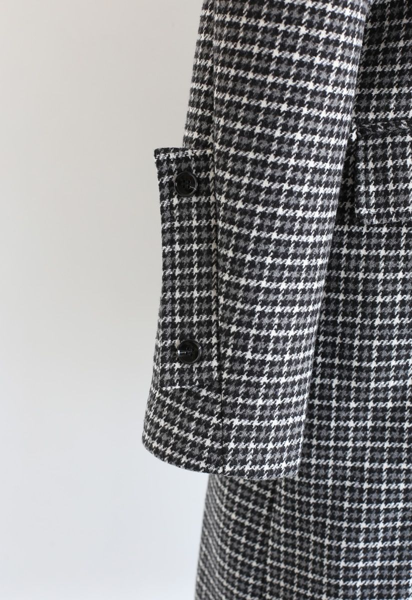 Houndstooth Double-Breasted Wool-Blend Longline Coat
