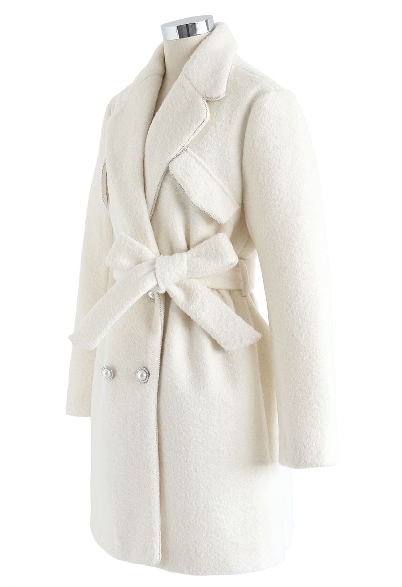 Crystal Edge Double-Breasted Wool-Blend Coat