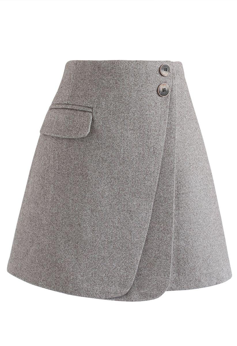 Double Flap Wool-Blend Mini Skirt in Grey