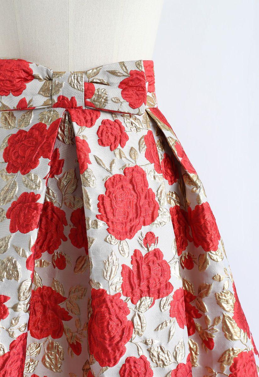 Bowknot Red Floral Jacquard Midi Skirt