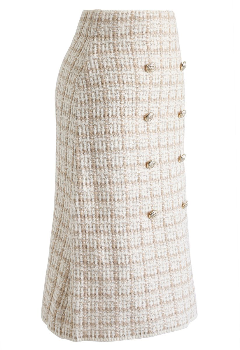 Buttons Decorated Grid Pencil Midi Skirt in Light Tan
