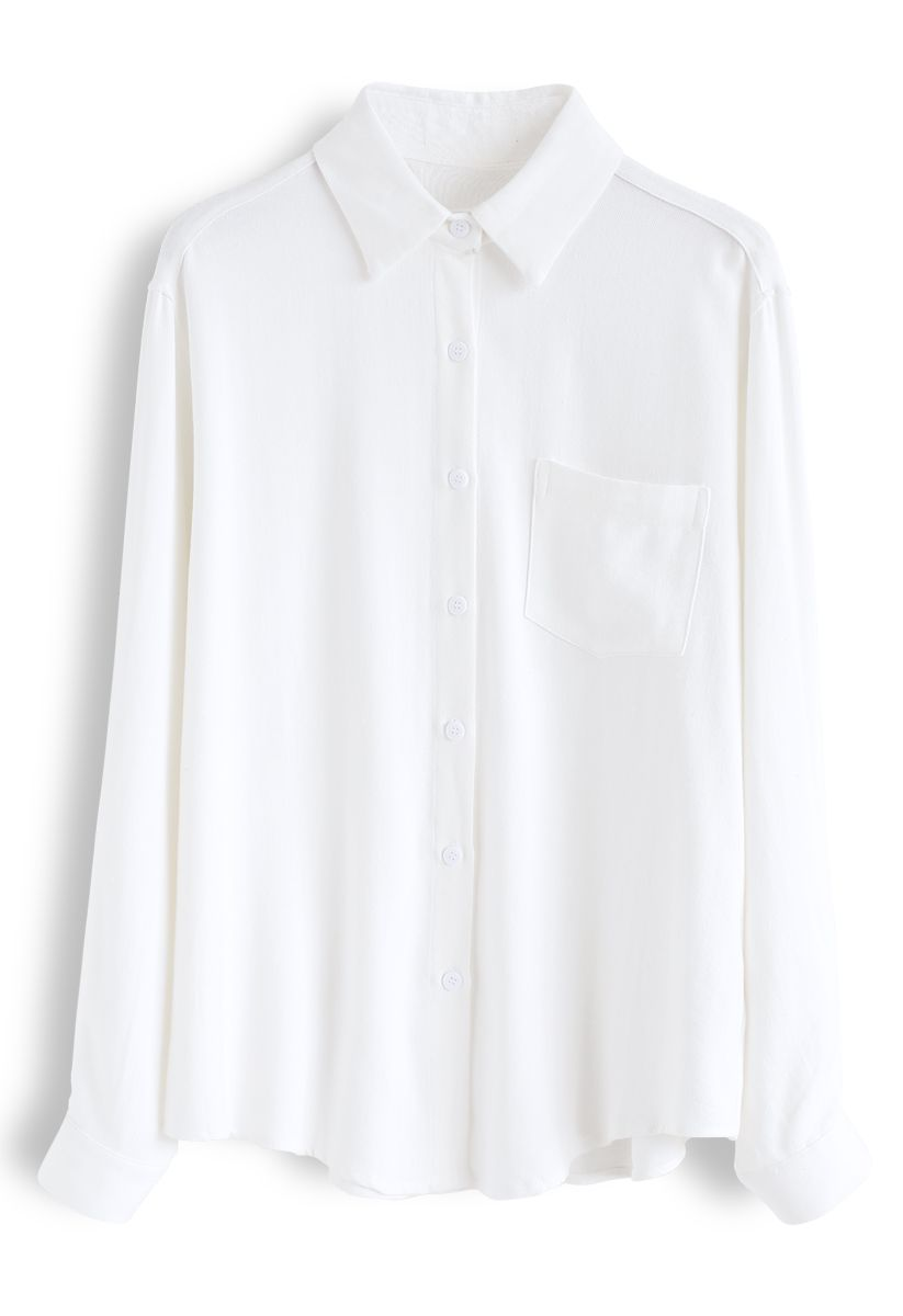 Pocket Button Down Sleeves Shirt in White