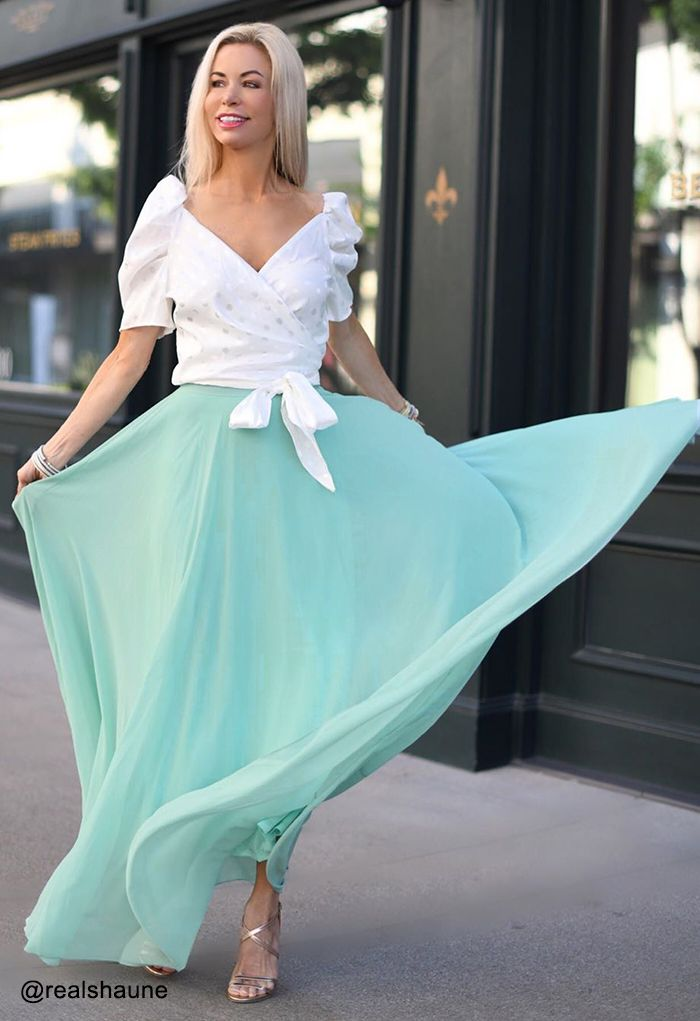 Timeless Favorite Chiffon Maxi Skirt in Mint