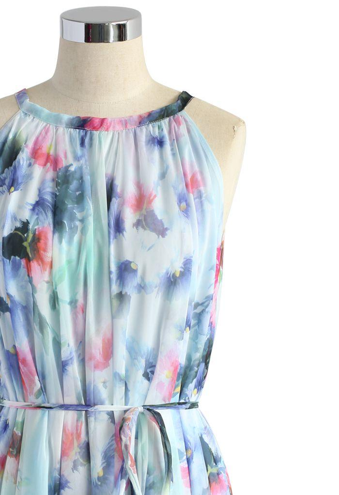 Tranquil Blue Watercolor Floral Maxi Slip Dress
