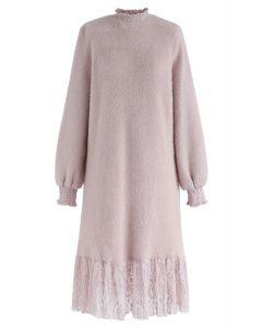 Lace Hem Fluffy Knit Shift Dress in Pink