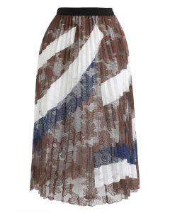 Floral Mesh Pleated Midi Skirt in Caramel