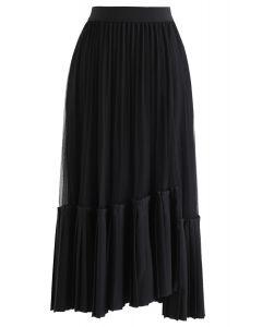 Mesh Asymmetric Hem Pleated Midi Skirt in Black