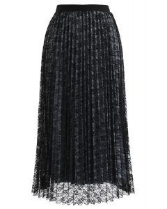 Reversible Floral Mesh Pleated Midi Skirt in Black