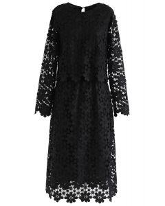 Full Sunflower Crochet Top and Skirt Set in Black