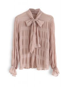 Shirred Bowknot Neck Sleeves Shirt in Coral