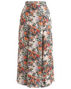 Ditsy Floral Frill Hem Midi Skirt